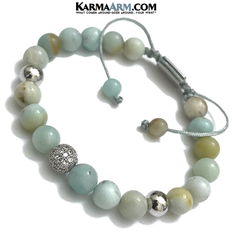 Meditation Mantra Yoga Bracelet. Meditation Self-Care Wellness Wristband Zen bead mala Jewelry.  Amazonite Diamond Macrame.