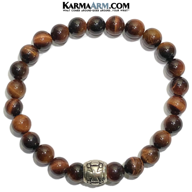 Meditation Mantra Yoga Bracelet. Self-Care Wellness Wristband Zen bead mala Jewelry.  Red Tiger Eye Gothic Cross.