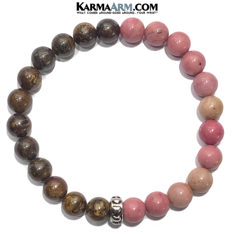 Meditation Mantra Yoga Bracelet. Self-Care Wellness Wristband Zen bead mala Jewelry. bronzite rhodochrosite.
