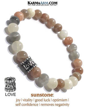Meditation Wristband yoga bracelets. mens beaded jewelry.  Sunstone Love Bead.