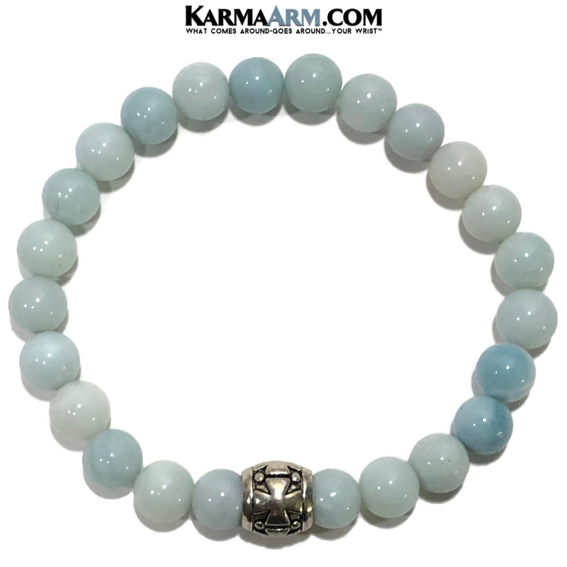 Meditation Yoga Bracelet. Self-Care Wellness Wristband Jewelry.  Blue Amazonite. Gothic Cross.