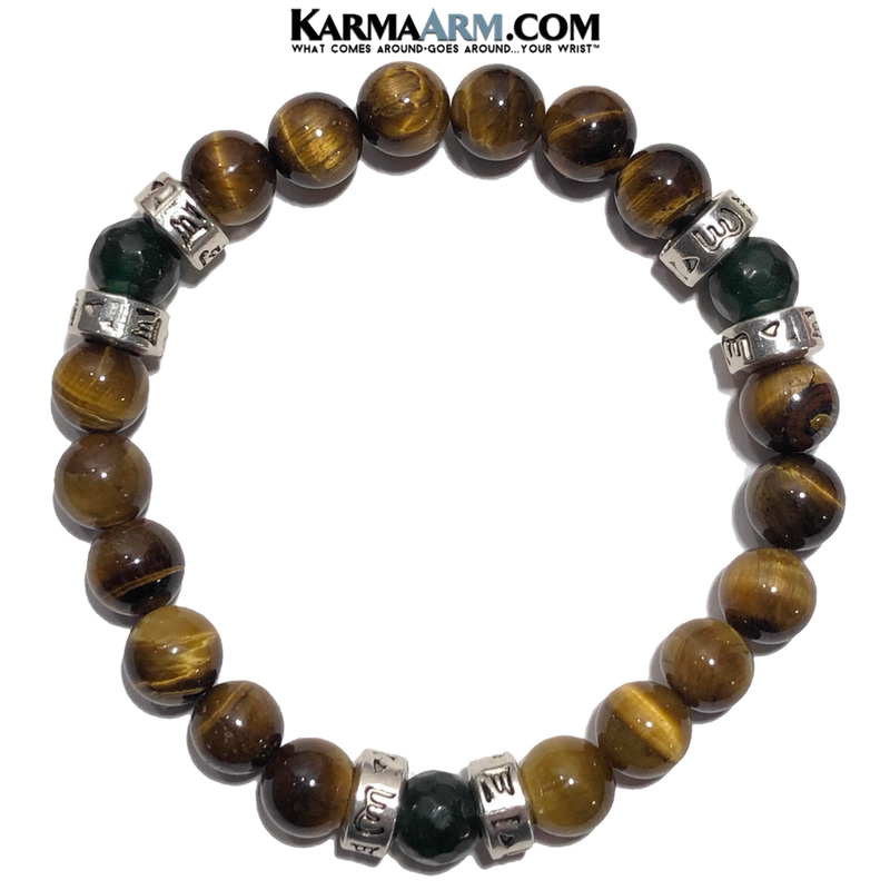 Om Mani Padme Hum Meditation Mantra Yoga Bracelet. Meditation Self-Care Wellness Wristband Tiger Eye Jade.