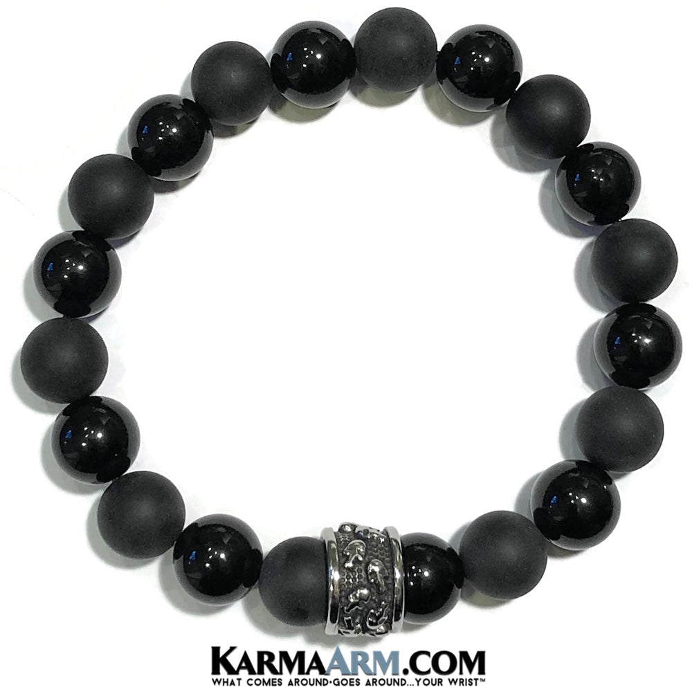 Skull Jewelry. Mens Beaded Yoga Bracelets. BoHo Jewelry.  Reiki Healing Meditation Jewelry. Black Onyx.