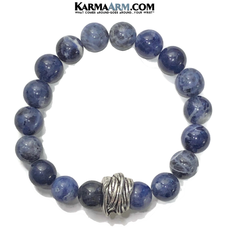 Sodalite Meditation Mantra Yoga Bracelet. Self-Care Wellness Wristband Zen bead mala Jewelry. Twine.