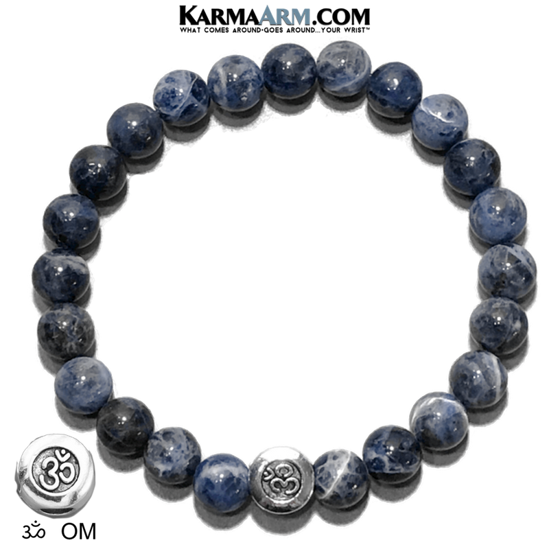 Sodalite Meditation OM Mantra Yoga Bracelet. Self-Care Wellness Wristband Zen bead mala Jewelry.