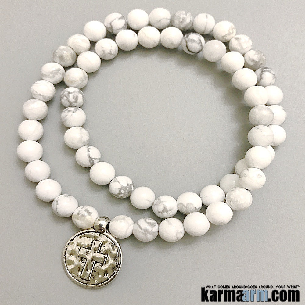 White Turquoise.Energy Healing Yoga Chakra Reiki Beaded Stretch Bracelets Crystal Jewelry Mens.