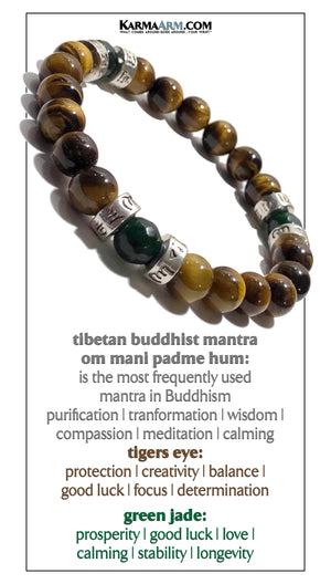Jade Tiger Eye Om Mani Padme Hum Yoga bracelets. Meditation self-care wellness mens bead wristband jewelry.