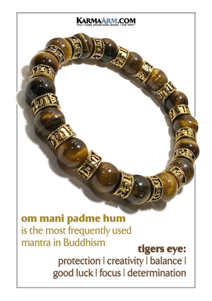 Yoga bracelets. Meditation self-care wellness mens bead wristband jewelry. Om Mani Padme Hum Tiger Eye.. copy