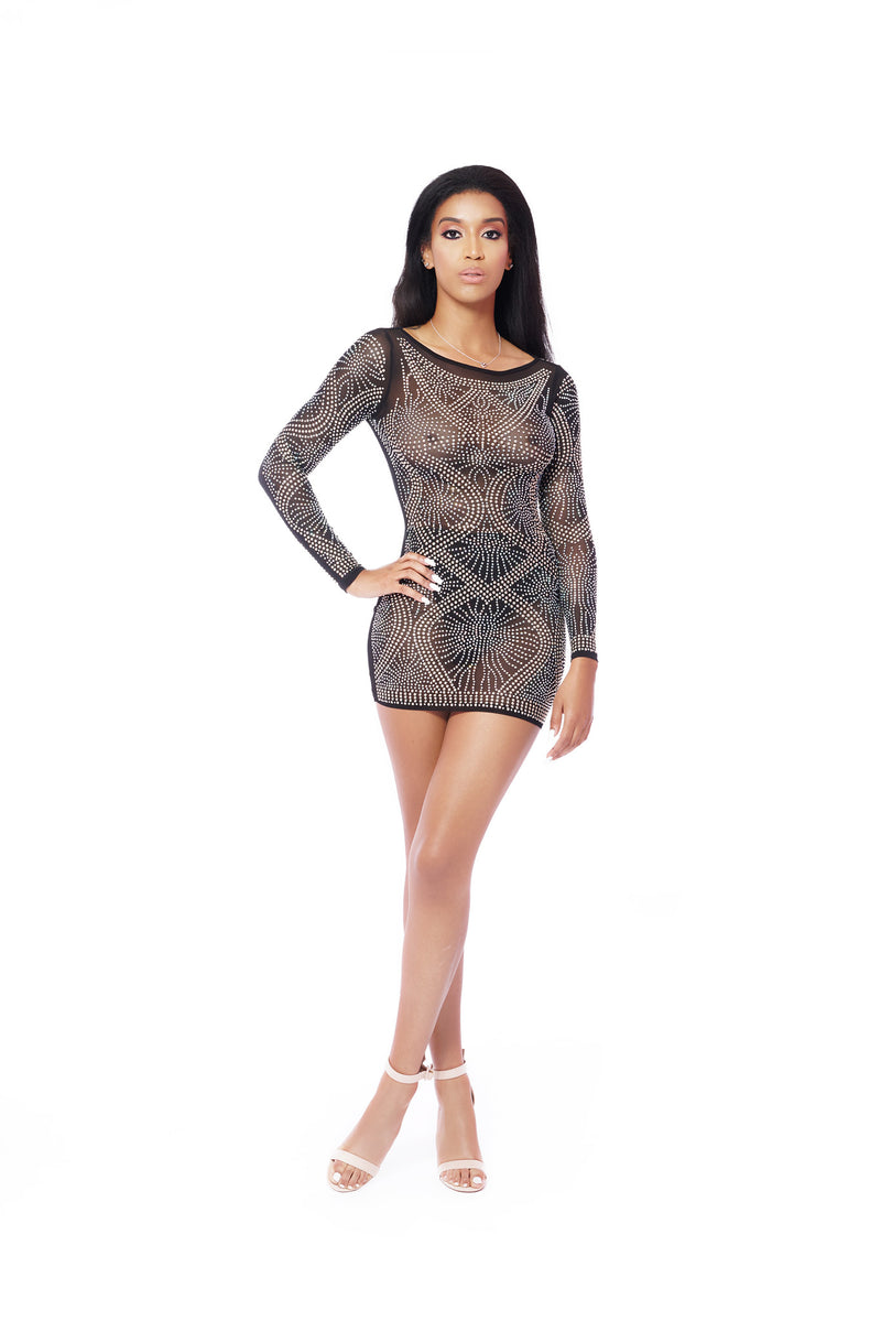 STARLIGHT LONG SLEEVE SILVER AND GOLD SEQUINS BLACK DRESS