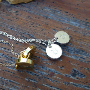 Chunky Initials Hand Stamped Necklace
