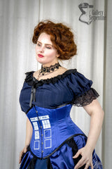 worn by pre raphaelite model in under bust victorian blue Tardis printed steel boned corset for Dr Who Tardis fans made in Australia