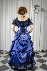 back view of the victorian fantasy corset gown worn by pre raphaelite model in this blue victorian cosplay costume for Dr Who Tardis fans made in Australia