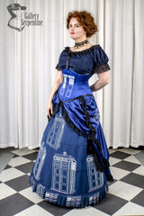 worn by pre raphaelite model in this blue victorian cosplay costume in blue for Dr Who Tardis fans made in Australia