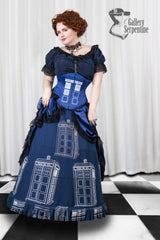 worn by pre raphaelite model in this blue hand screen printed victorian fantasy cosplay costume for Dr Who Tardis fans made in Australia