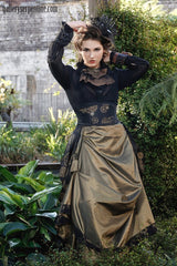 matching steampunk corset belt to the black satin victorian steampunk bustle skirt made in Australia