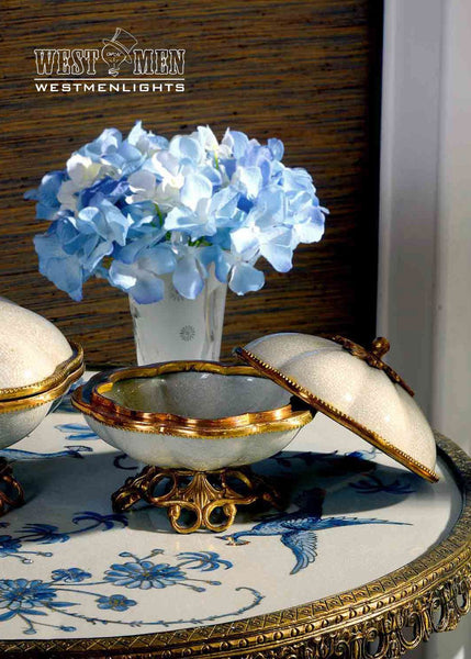 Gilt Brass Ormolu Trim Porcelain Dish -  westmenlights
