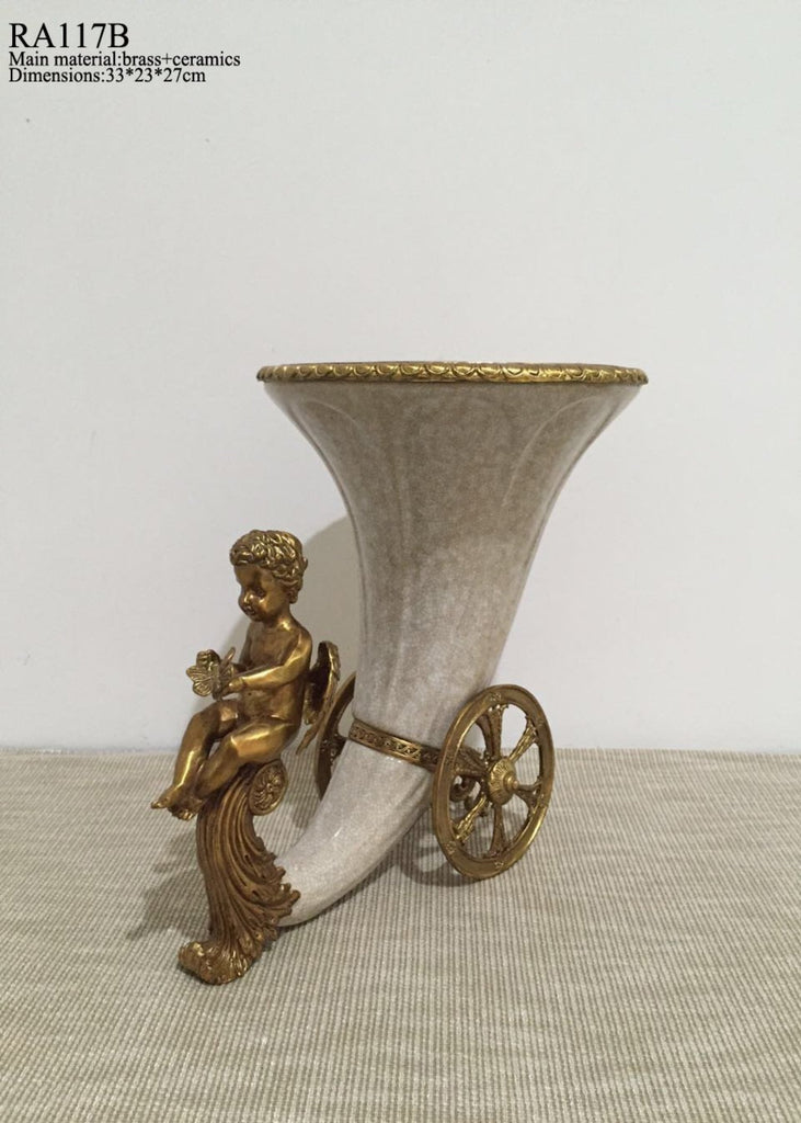 Gilt Bronze porcelain horn centerpiece -  westmenlights