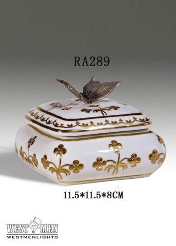 Bronze Butterfly Decorative Porcelain Mini Floral Box -  westmenlights