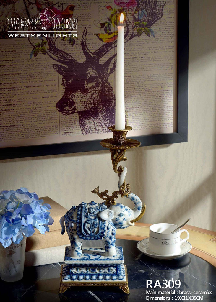 Gilt Bronze Blue and White Elephants Candlesticks -  westmenlights