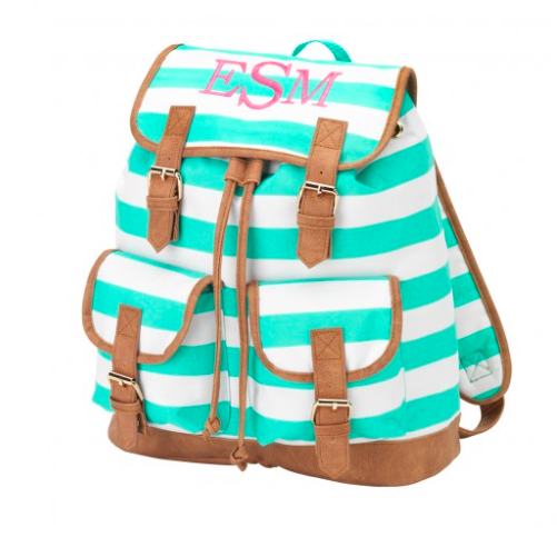 Mint Stripe Campus Backpack
