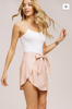 Linen Wrap Mini Skirt- Blush