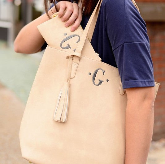 Monogram Luxe Shoulder Tote- Beige