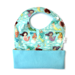 Ultimate Meal Pocket Bib for babies and toddlers - Mermaids waterproof fabric