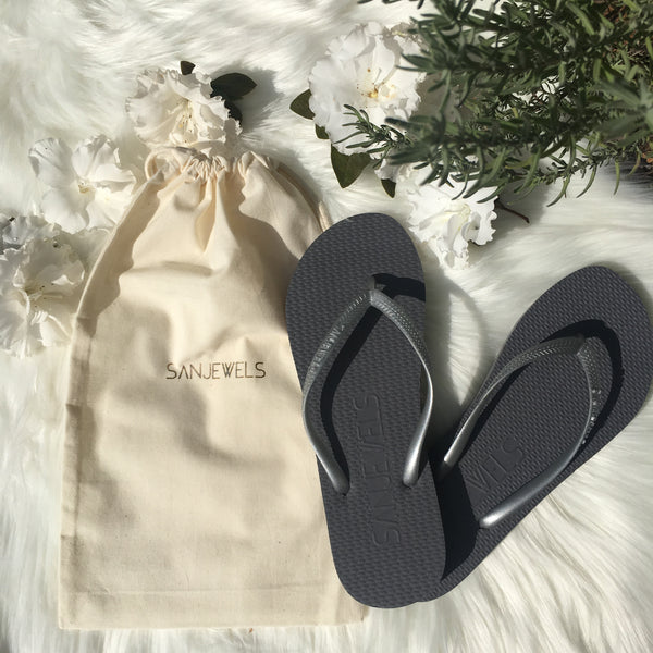 Wedding flip-flops for Reception/Guests *SILVER*