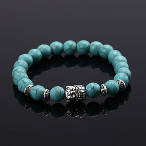 2015 Fashion jewelry Natural stone buddha beads bracelet men elastic rope chain charm bracelet for women Pulseras mujer