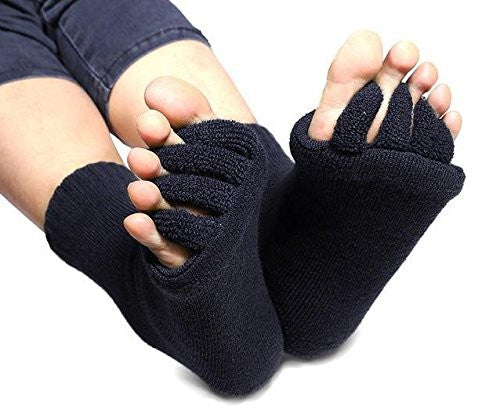 Bunion Socks From Cerkos: Unisex Comfy Toes Foot Alignment Socks, Pedicure Socks, Bunion Support Socks, Toe Separator Socks, Toe Socks, Bunion Alignment Socks for Men/women (1 Pair, Black) - Cerkos  - 1