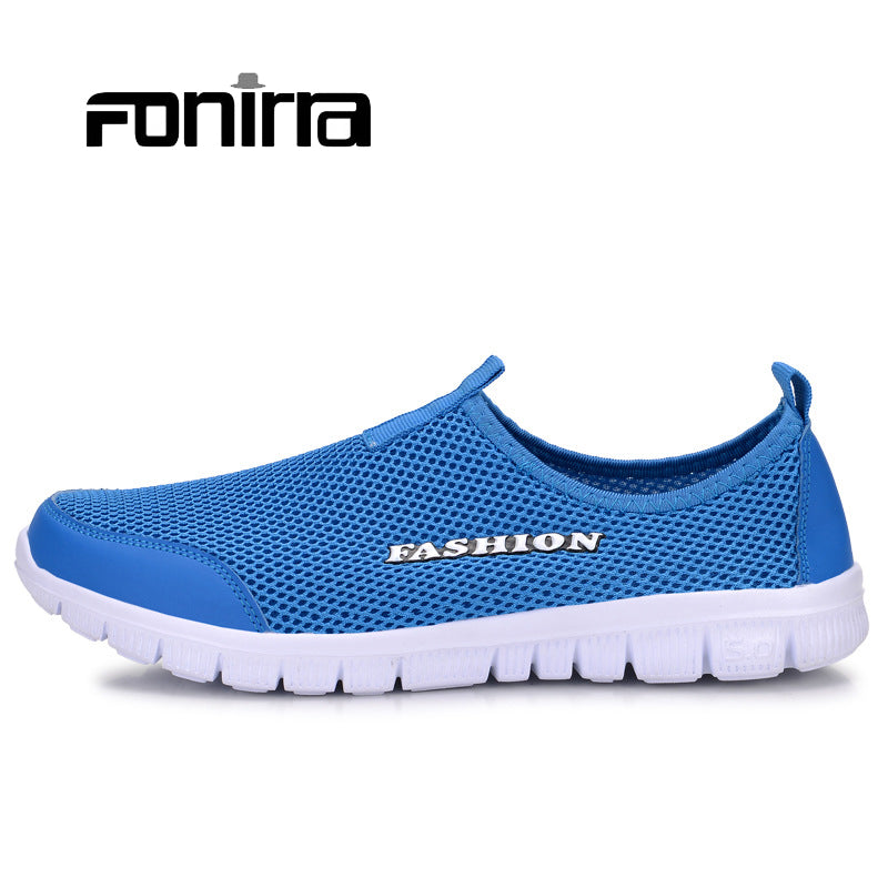 FONIRRA Men Casual Shoes 2017 New Summer Breathable Mesh Casual Shoes Size 34-46 Slip On Soft Men's Loafers Outdoors Shoes 131