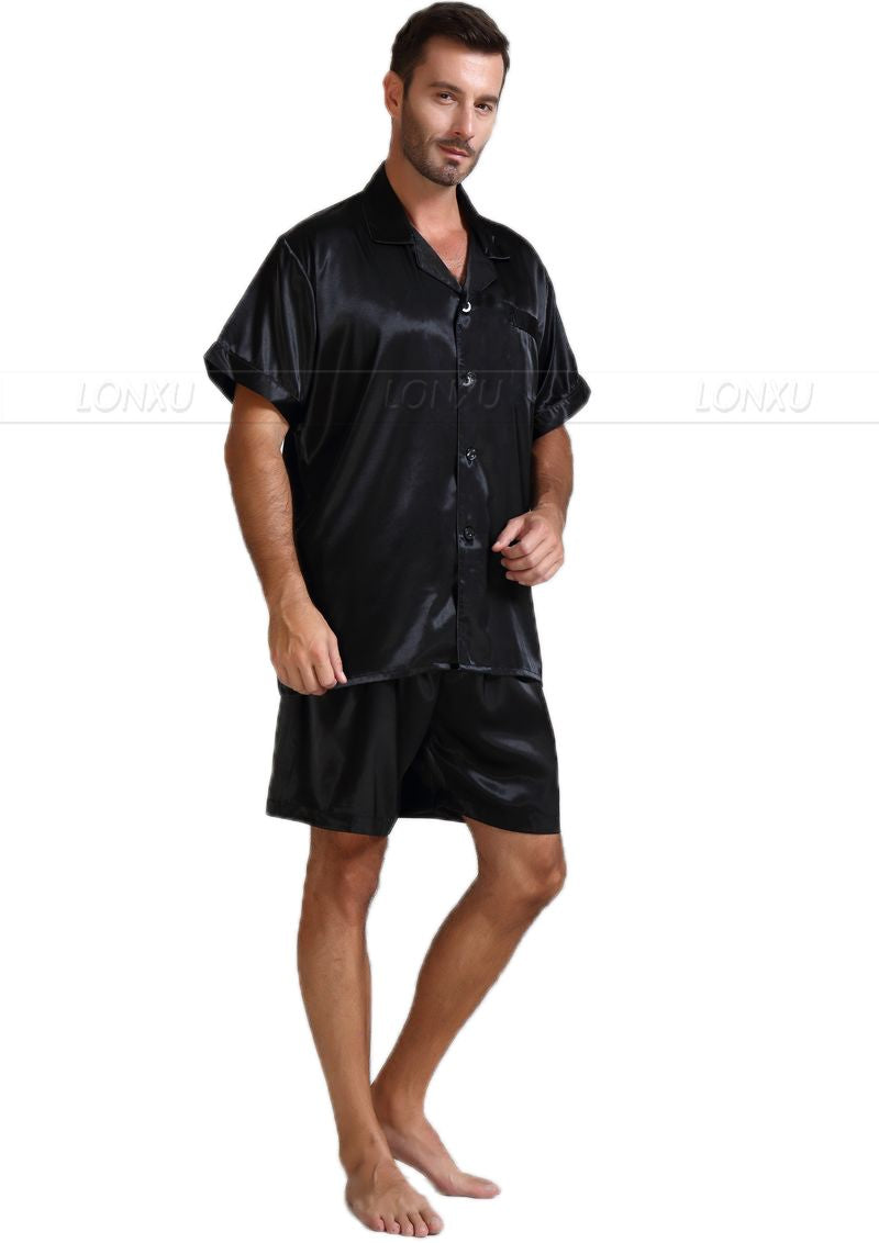 Mens Silk Satin Pajamas Pajama Pyjamas Short Set Sleepwear Loungewear U.S.S,M,L,XL,2XL,3XL ,4XL Solid__6Colors