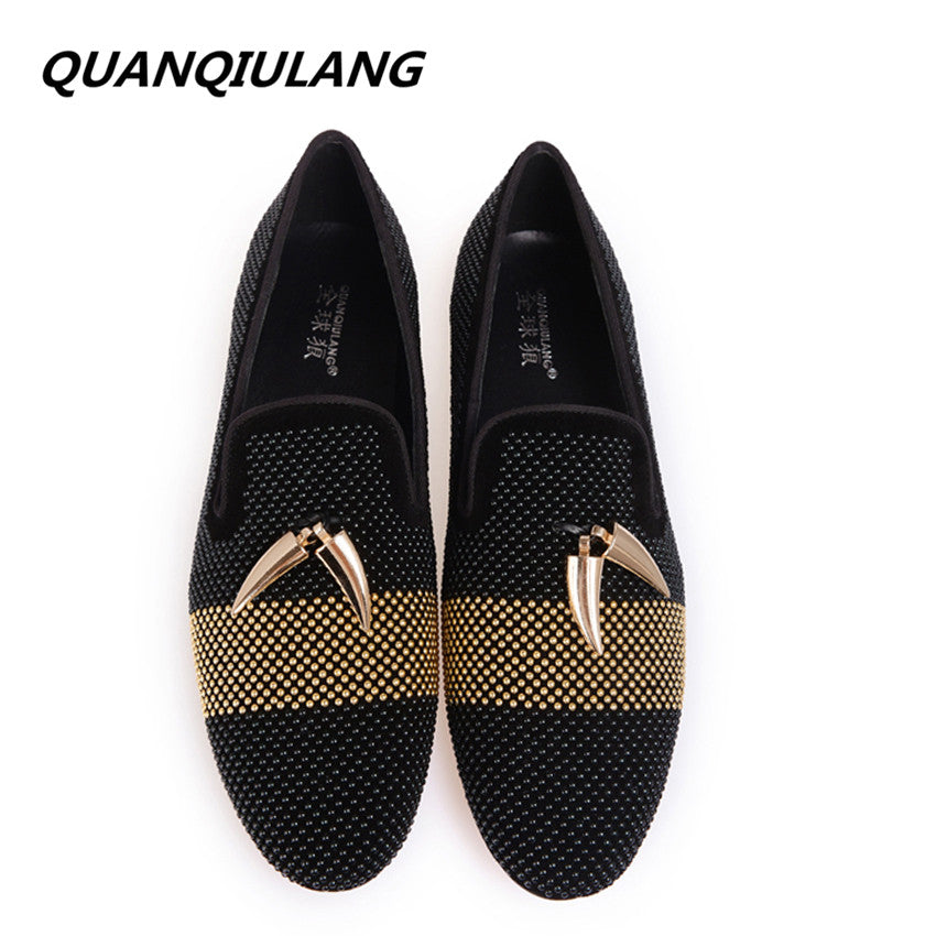 New Arrival Gold Metal Signature Shark Tooth Hot Shoe Drill Handmade Genuine Leather Man Shoes Loafers Men Flats Large size 47