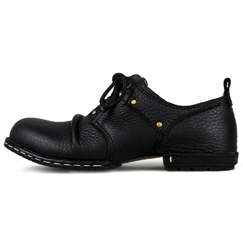 OTTO ZONE Handmade Genuine Cow Leather Ankle Boots Fashion Men Martin Boots Rivet Flat Shoes Casual Lace-Up shoes