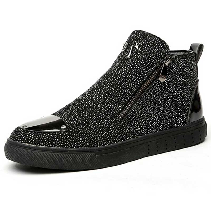 Tangnest Luxury Brand Men Shoes 2017 Fashion Sequined Toe Men Boots Bling Side Zip High Top Shoes Man Casual Flat Shoes XMR2390
