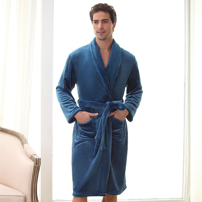 Thoshine 2017 Spring Autumn Winter Men Warm Flannel Robe Family Home Bathrobes Male Thermal Coral Fleece Pijama Extra Size 3XL