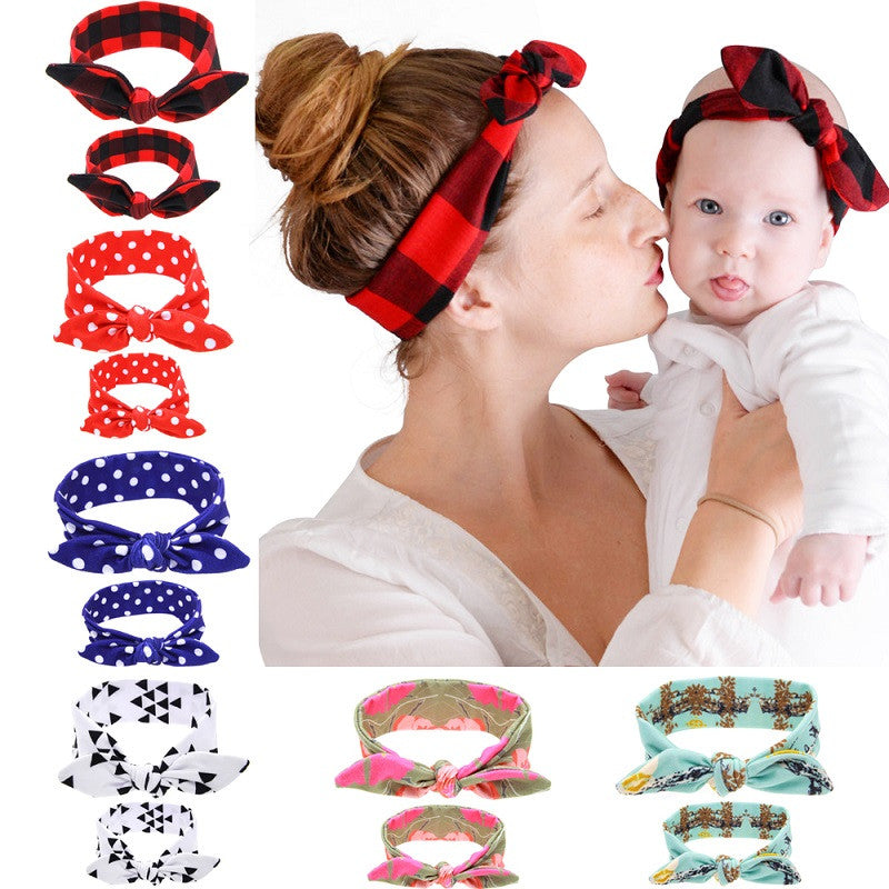 Mom And Me Matching Turban Headband Mom Daughter Headwrap Watercolor Floral Print Hair Accessories Newborn - Adult 1set HB536