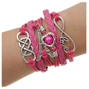 Fashion Various styles jewelry leather Double infinite multilayer bracelets factory charm price wholesale Anchor pulseira couro