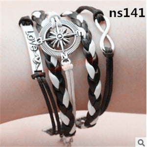 ns131 Multilayer Braided Bracelets Vintage Owl Harry Potter wings infinity bracelet, Multicolor woven leather bracelet & Bangle