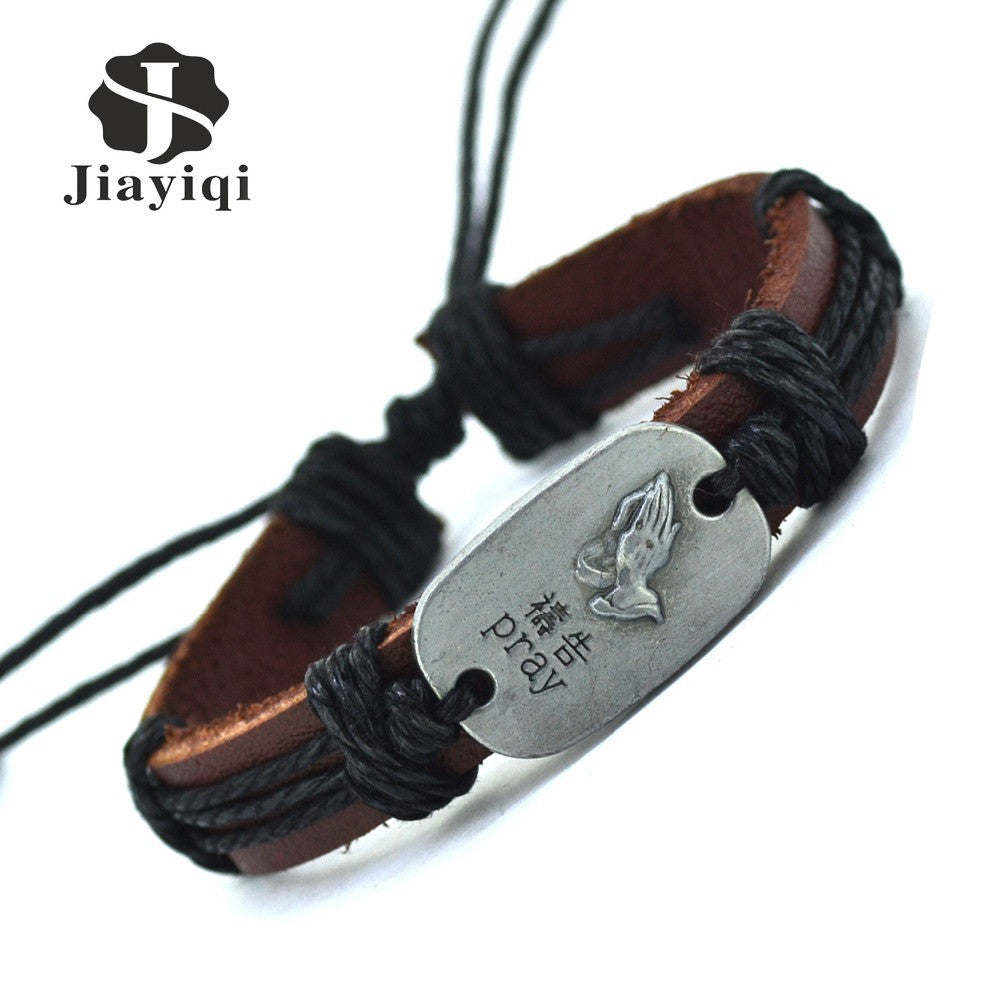 2015 New Fashion Handmade Pray Bracelets Bangles Vintage Leather Bracelets For Women Men Jewelry Wholesale