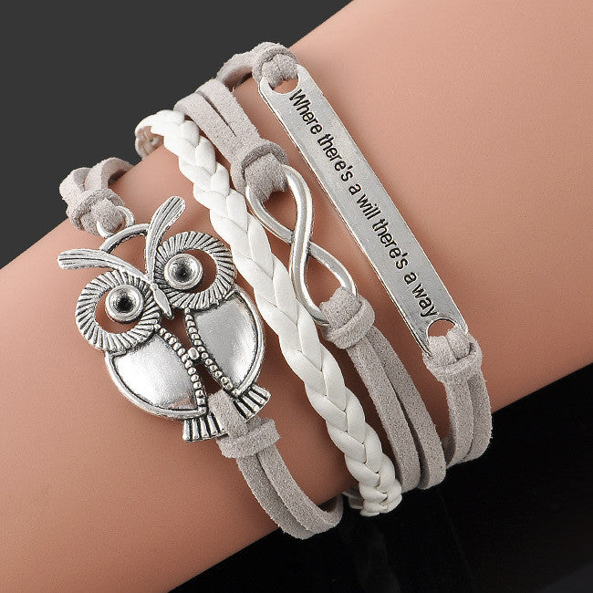 Fashion Jewelry high quality Handmade Women Barcelet Owl Metal Plate decorations Charms White Braided Wristband Love Bracelets