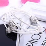 2015 New women bracelets pulseiras unique rhinestones PU leather women bracelet Shamballa bracelet with magnetic clasp pulseras