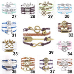 2015 Fine Jewelry Multilayer Leather Bracelet  Arrow  Mask Clock Anchors Infinity  Heart Owl Wings Charm Bracelets Pulseira