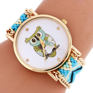 Vogue Handmade Woven Watches Women Owl Pattern Cartoon-Watch Womens Wrist Quartz-Watch Girl Lady Bracelet Watch Relogio Feminino