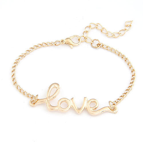 2014 Brand Design Korean 4 colors simple Fashion Elegant Charm Love Metal Chain Bracelets Statement Jewelry wholesale Hot PT36