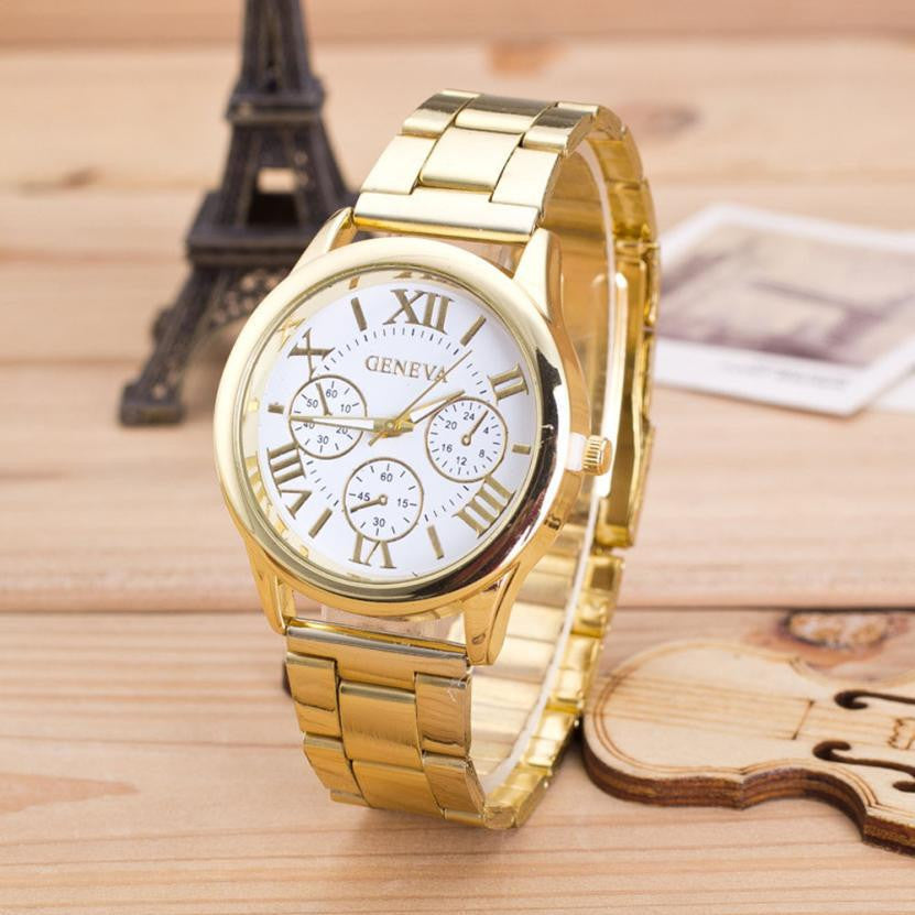 Top Quality Womens Roman Numerals Stainless Steel Waterproof Quartz Wristwatch Elegant Fashion Bracelet Watches Dress Watch