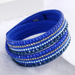 2015 New Unisex Multilayer Leather Bracelet Rhinestone Crystal Bracelet Wrap bracelets for women Christmas Gift pulseras mulher