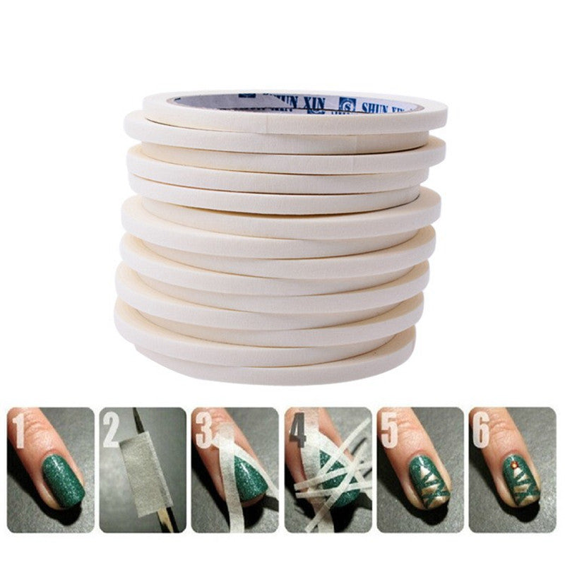 0.5cm*17m Manicure 3D Nail Art Tips Creative Nails Stripe Tape Rolls White Tape Stickers For Masking Pattern JH225 - Cerkos.com