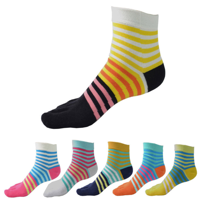 Wiggle Socks Creative Fashion Stripe Middle Tube Socks Women Stripe Cotton Casual Socks Daily Sports GYM Five Toe Socks - Cerkos  - 1