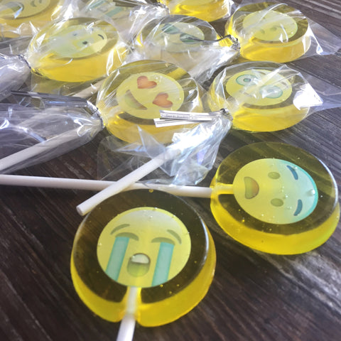 Edible Emoji Lollipop Hard Candy Party Favor Suckers